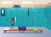 School Changing Room. College Gym Sport Lockers Changing Room Interior Classroom With Equipment And  poster
