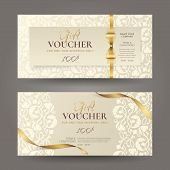Set Of Luxury Gift Vouchers With Golden Ribbons, Bow And Vintage Floral Pattern. Vector Elegant Temp poster