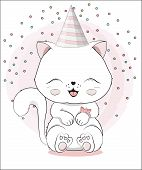 Lovely Cute White Kitten Little Kitten Happy Birthday Greeting Card poster