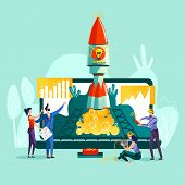 Business Start Up Concept Vector Illustration. Open Laptop, Rocket Taking Off From It And Team Work  poster