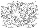 Cute Abstract Coloring Page With Summer Flowers And Bird, For Kids And Adults poster