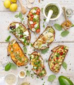 Assorted  Open Faced Sandwiches, Open Avocado Sandwiches Made Of  Slices Of Sourdough Bread With  Va poster