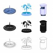 Isolated Object Of Urban And Street Icon. Collection Of Urban And Relaxation Stock Vector Illustrati poster