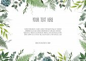 Green Branches Leaves Foliage, Border, Frame. Floral Poster, Invite. poster