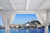 stock photo of gazebo  - Ibiza town view from white gazebo in Mediterranean sea - JPG