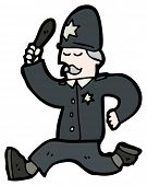 image of truncheon  - cartoon running policeman - JPG