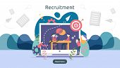 Online Recruitment Or Job Hiring Concept With Tiny People Character. Select A Resume Process. Agency poster