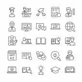 Education Line Icons. Laptop, College Book And Video Tutorial Icons. Graduation Cap, Instructions An poster