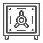 Safe Deposit Line Icon, Finance And Currency, Bank Safe Sign, Vector Graphics, A Linear Pattern On A poster