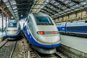 PARIS , FRANCE - JULY 7 : TGV high speed french train in gare de Lyon station on July 7 , 2006 in Paris, France