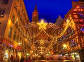 Rue Merciere During Christmas Illumination In Strasbourg