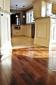 stock photo of residential home  - Hardwood and tile floor in residential home kitchen and dining room - JPG