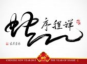 Snake Calligraphy, Chinese New Year 2013 Translation: Auspicious Year of Snake