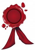 detailed illustration of a red wax seal, gradient mesh included