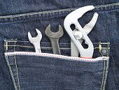 Tools in a jean pocket