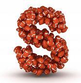 foto of ncaa  - Letter S making from american football balls - JPG