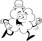Cartoon running shamrock (Black and White Line Art)