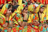 Rajasthani Girls Are Preparing To Dance  At Annual Camel Fair,India