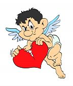 stock photo of ero  - hand drawn cartoon cupid breaking a heart - JPG