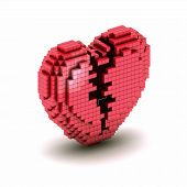 Orthogonal Broken Heart Pixel Icon