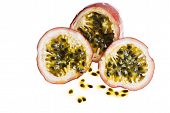 picture of passion fruit  - Passion fruit cut into pieces with seeds - JPG