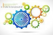 illustration of cog wheel in Indian tricolor with Ashok Chakra