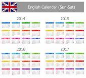 2014 - 2017 Tipo 1 calendario inglés Sun-sat