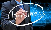 Businessman Hand Writing Business