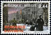 A stamp printed in Belgium shows the siege of the city of Bastogne in World War II in 1944
