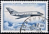 FRANCE - CIRCA 1965: a stamp printed in France show the passenger jet Mistere 20 circa 1965.
