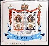 Stamp printed in Gibraltar showing Portrait of Queen Elizabeth, silver jubilee