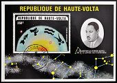 stamp printed in Republic of Upper Volta showsMartin Luther King and the constellation of Capricorn