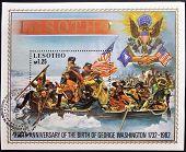 Um selo impresso em Lesoto comemora os 250 anos do nascimento de George Washington