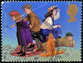 A stamp printed in Great Britain shows The phoenix and the Casper by Edith Nesbit