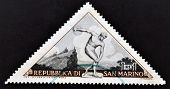 SAN MARINO - CIRCA 1953: A stamp printed in the San Marino the sculpture depicts discus thrower circ
