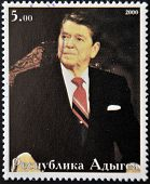 ABKHAZIA - CIRCA 2000 : Stamp printed in Abkhazia shows portrait Ronald Reagan circa 2000