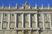The facade of the royal palace in Madrid, Spain