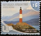 ARGENTINA - CIRCA 2000: A stamp printed in Argentina shows Les Eclaireurs lighthouse Tierra de Fuego