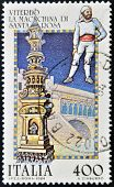 ITALY - CIRCA 1984: A stamp printed in Italy shows the machine of Santa Rosa Viterbo circa 1984