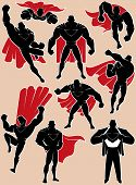 stock photo of superman  - Superhero silhouette in 9 different poses - JPG