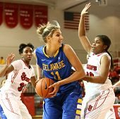 JAMAICA, NY-JAN 2: Delaware Blue Hens guard Elena Delle Donne (11) shoots around St. John's Red Stor