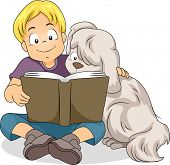 Illustration of a Boy Reading a Book Together with His Dog
