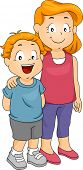 Illustration of a Young Boy Together with His Elder Sister
