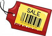 Illustration of a Price Tag with the Word Sale Written on It