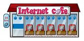 illustration of an internet cafe on a white  background