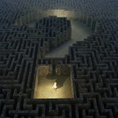stock photo of catacombs  - question in labyrinth - JPG