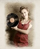 Mujer Pin up Rockabilly con discos Lp de vinilo