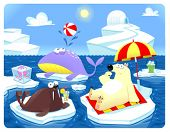Summer or Winter at the North Pole. Cartoon vector illustration.