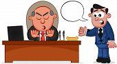 Business Cartoon - Boss Man Rejecting Employee