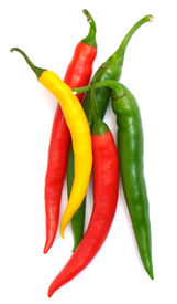 stock photo of red hot chilli peppers  - colour hot chilli peppers on white background - JPG